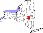 Map of New York showing Schoharie County - Click on map for a greater detail.