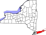 Map of New York showing Suffolk County - Click on map for a greater detail.