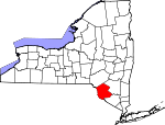 Map of New York showing Sullivan County - Click on map for a greater detail.