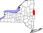 Map of New York showing Washington County - Click on map for a greater detail.