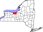 Map of New York showing Wayne County - Click on map for a greater detail.
