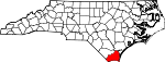 Map of North Carolina showing Brunswick County - Click on map for a greater detail.