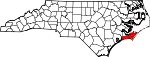 Map of North Carolina showing Carteret County - Click on map for a greater detail.