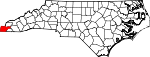 Map of North Carolina showing Cherokee County - Click on map for a greater detail.