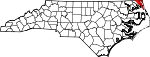Map of North Carolina showing Currituck County - Click on map for a greater detail.