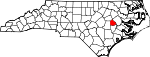 Map of North Carolina showing Greene County - Click on map for a greater detail.