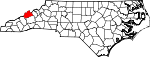 Map of North Carolina showing Madison County - Click on map for a greater detail.