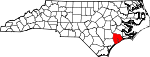 Map of North Carolina showing Onslow County - Click on map for a greater detail.
