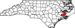Map of North Carolina showing Pamlico County - Click on map for a greater detail.