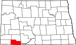 Map of North Dakota showing Adams County - Click on map for a greater detail.