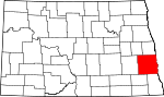 Map of North Dakota showing Cass County - Click on map for a greater detail.