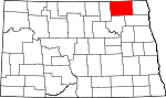 Map of North Dakota showing Cavalier County - Click on map for a greater detail.