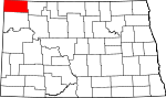 Map of North Dakota showing Divide County - Click on map for a greater detail.