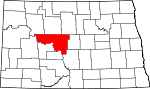 Map of North Dakota showing McLean County - Click on map for a greater detail.