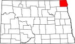 Map of North Dakota showing Pembina County - Click on map for a greater detail.