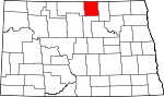 Map of North Dakota showing Rolette County - Click on map for a greater detail.