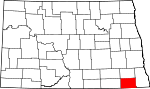 Map of North Dakota showing Sargent County - Click on map for a greater detail.