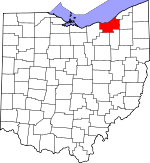 Map of Ohio showing Cuyahoga County - Click on map for a greater detail.