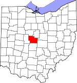 Map of Ohio showing Delaware County - Click on map for a greater detail.