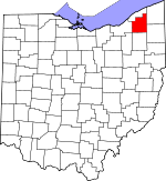 Map of Ohio showing Geauga County - Click on map for a greater detail.