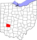 Map of Ohio showing Greene County - Click on map for a greater detail.