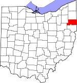 Map of Ohio showing Mahoning County - Click on map for a greater detail.