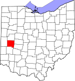 Map of Ohio showing Miami County - Click on map for a greater detail.