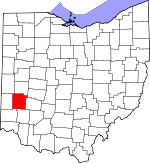 Map of Ohio showing Montgomery County - Click on map for a greater detail.
