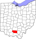 Map of Ohio showing Pike County - Click on map for a greater detail.