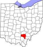 Map of Ohio showing Vinton County - Click on map for a greater detail.