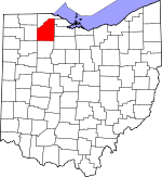 Map of Ohio showing Wood County - Click on map for a greater detail.