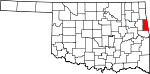 Map of Oklahoma showing Adair County - Click on map for a greater detail.