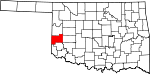 Map of Oklahoma showing Beckham County - Click on map for a greater detail.