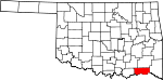 Map of Oklahoma showing Choctaw County - Click on map for a greater detail.