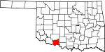 Map of Oklahoma showing Cotton County - Click on map for a greater detail.