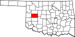 Map of Oklahoma showing Custer County - Click on map for a greater detail.