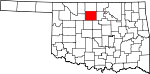 Map of Oklahoma showing Garfield County - Click on map for a greater detail.