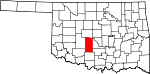 Map of Oklahoma showing Grady County - Click on map for a greater detail.