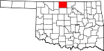 Map of Oklahoma showing Grant County - Click on map for a greater detail.