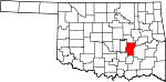 Map of Oklahoma showing Hughes County - Click on map for a greater detail.