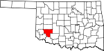 Map of Oklahoma showing Kiowa County - Click on map for a greater detail.