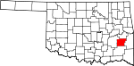 Map of Oklahoma showing Latimer County - Click on map for a greater detail.