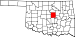 Map of Oklahoma showing Lincoln County - Click on map for a greater detail.