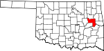 Map of Oklahoma showing Muskogee County - Click on map for a greater detail.