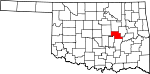 Map of Oklahoma showing Okfuskee County - Click on map for a greater detail.