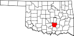 Map of Oklahoma showing Pontotoc County - Click on map for a greater detail.