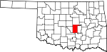 Map of Oklahoma showing Pottawatomie County - Click on map for a greater detail.