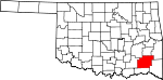 Map of Oklahoma showing Pushmataha County - Click on map for a greater detail.