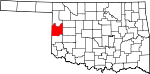 Map of Oklahoma showing Roger Mills County - Click on map for a greater detail.