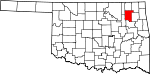 Map of Oklahoma showing Rogers County - Click on map for a greater detail.